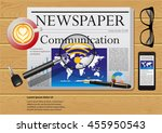 newspaper on the wooden table | Shutterstock .eps vector #455950543