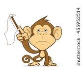 monkey waving a white flag | Shutterstock .eps vector #455952514