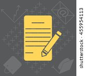 icon of notes  sheet and pen  | Shutterstock .eps vector #455954113