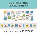 line concept web banner for app ... | Shutterstock . vector #455957458