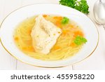 chicken broth with noodles... | Shutterstock . vector #455958220