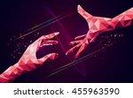 reaching polygon hands ... | Shutterstock .eps vector #455963590