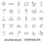 summer set outline icon vector... | Shutterstock .eps vector #455964154