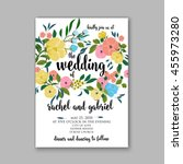 wedding card or invitation with ... | Shutterstock .eps vector #455973280