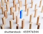 blue color wood block stand out ... | Shutterstock . vector #455976544