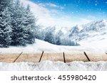 winter blue landscape of alps... | Shutterstock . vector #455980420