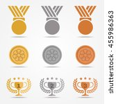 gold silver bronze medal and... | Shutterstock .eps vector #455986363