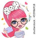 vector cute cartoon girl with... | Shutterstock .eps vector #455986918