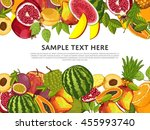 fruit mix with leaves on wite... | Shutterstock .eps vector #455993740