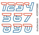 numbers set logos with red wing.... | Shutterstock .eps vector #455995888
