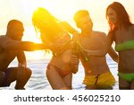 cheerful friends sitting on... | Shutterstock . vector #456025210