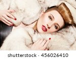 gorgeous model lying on the fur ... | Shutterstock . vector #456026410