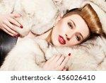 gorgeous model lying on the fur ... | Shutterstock . vector #456026410