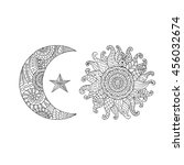 hand drawn sun  new moon and... | Shutterstock .eps vector #456032674