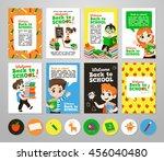 back to school set . pupils... | Shutterstock .eps vector #456040480