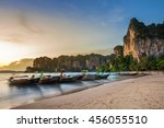 long tail boats on railay beach ...   Shutterstock . vector #456055510