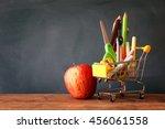 shopping cart with school... | Shutterstock . vector #456061558