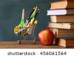 shopping cart with school... | Shutterstock . vector #456061564