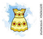 yellow   red frock over blue... | Shutterstock .eps vector #456061630