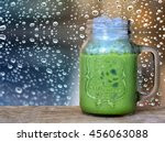 ice green tea on wood table and ... | Shutterstock . vector #456063088