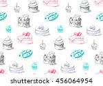 tasty cakes seamless pattern.... | Shutterstock .eps vector #456064954
