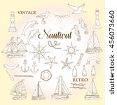 set with nautical  elements... | Shutterstock .eps vector #456073660