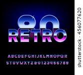 80's retro alphabet font.... | Shutterstock .eps vector #456077620