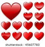set of red shiny hearts  ... | Shutterstock .eps vector #45607783
