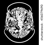 tattoo styled illustration with ... | Shutterstock .eps vector #456079690