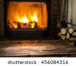 Old Wooden Table And Fireplace...