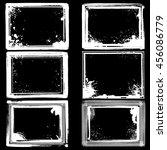 set of white grunge frames with ... | Shutterstock .eps vector #456086779