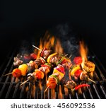 barbecue skewers meat kebabs... | Shutterstock . vector #456092536