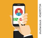 incoming call. one hand holds... | Shutterstock .eps vector #456095734