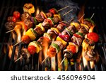 barbecue skewers meat kebabs... | Shutterstock . vector #456096904