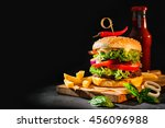 Delicious Hamburger With Frenc...