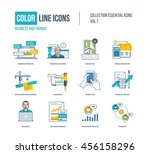 color thin line icons set.... | Shutterstock .eps vector #456158296