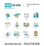 color thin line icons set.... | Shutterstock .eps vector #456158308