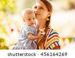 mother and her little girl...   Shutterstock . vector #456164269