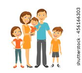 happy parents and kids. mother... | Shutterstock .eps vector #456166303