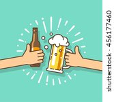 beer festival. two hands... | Shutterstock .eps vector #456177460
