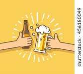 beer festival. two hands... | Shutterstock .eps vector #456180049