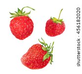 strawberry red berries isolated ...   Shutterstock . vector #456182020