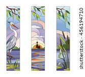 stained glass with heron | Shutterstock .eps vector #456194710
