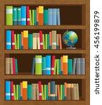 shelves full of colorful books   Shutterstock .eps vector #456199879