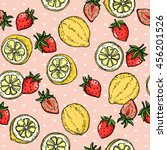 Lemon Strawberry Fruit Pattern. ...