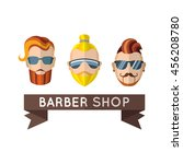 hipster in barbershop. lable....   Shutterstock .eps vector #456208780