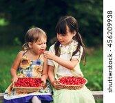 the children eating cherries in ... | Shutterstock . vector #456209938