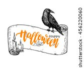 happy halloween vector banner... | Shutterstock .eps vector #456220060