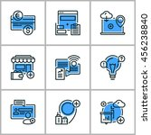 set of flat thin line design... | Shutterstock .eps vector #456238840