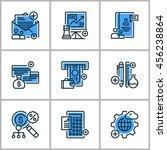 set of flat thin line design... | Shutterstock .eps vector #456238864